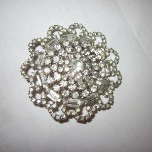 Huge vintage rhinestone pin